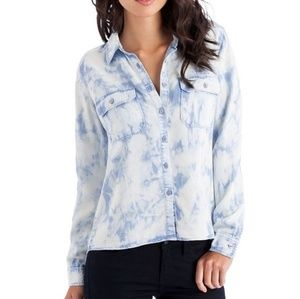 Guess Utility Tie Dyed Tencel Button Down